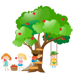 Kids picking out apples from tree vector