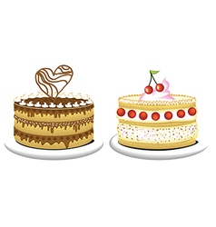Milky cake and chocolate cake vector image vector image
