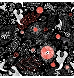 Seamless graphic floral pattern vector image