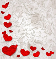 set crumpled paper hearts on grunge floral vector image vector image
