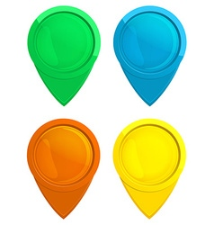 Set of glossy glass tag map green blue red yellow vector image