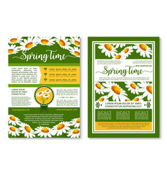 Spring flowers poster or brochure template vector