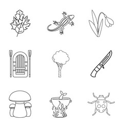 forest gift icons set outline style vector image vector image