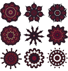 Set of burgundy mandalas vector image vector image