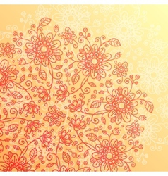 Yellow and pink doodle flowers vintage background vector image vector image
