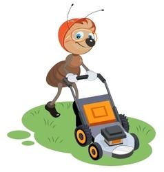 Ant gardener mows lawn Gardener and lawn mower vector image