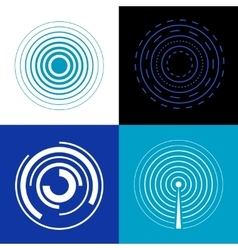 Blue circle signal waves Generate sound or radar vector image vector image