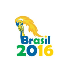 Brasil 2016 Summer Games Athlete Hand Torch vector image