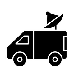 car broadcasting with satellite dish icon vector image