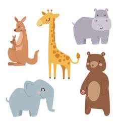 cute zoo cartoon animals isolated funny wildlife vector image