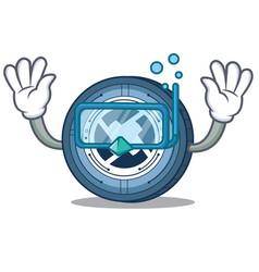 Diving 0x coin character cartoon vector