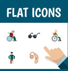 Flat icon cripple set of spectacles handicapped vector