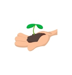 Hands holding green sprout icon vector image