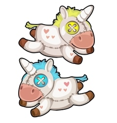 Two handmade soft toys unicorn isolated vector image vector image
