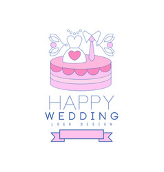 Cute line logo design with cake dress and tie on vector