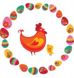Easter frame hen vector image vector image