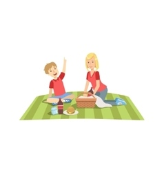 Mother And Child Having Picnic Lunch Together vector image