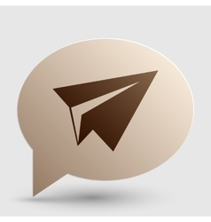 Paper airplane sign Brown gradient icon on bubble vector image vector image