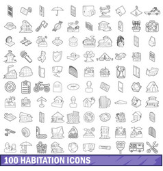 100 habitation icons set outline style vector image