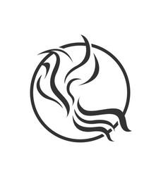 abstract bird logo design white and black color vector image