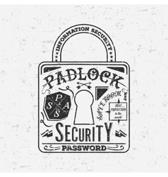 Abstract creative retro padlock For web vector