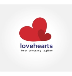 Abstract two hearts logo icon concept Logotype vector