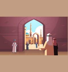 Arab people coming to nabawi mosque building vector