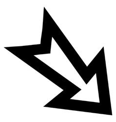 Arrow Right Down Contour Icon vector
