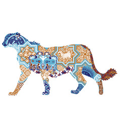 asian cheetah decorated with iranian patterns vector image
