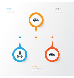 Auto icons set collection of hatchback plug car vector