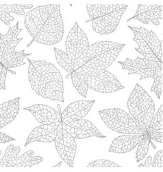 autumn seamless pattern with detailed leaves vector image