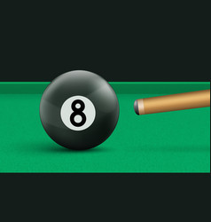 billiard eight ball and cue on green cloth table vector image