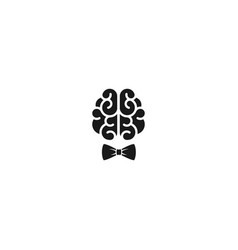 black brain with gentleman bow icon intellect vector image