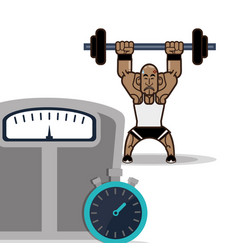 bodybuilder fitness male weight scale and vector image