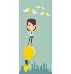 Business woman flying on the light bulb vector image