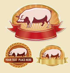 Butcher label pork with pig vector