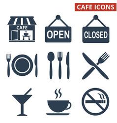 cafe icons set on white background vector image