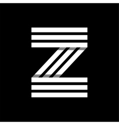 Capital letter Z Made of three white stripes vector image