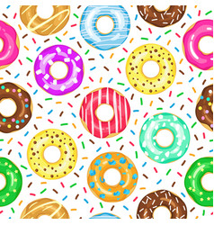 cartoon donuts pattern seamless glazed and vector image