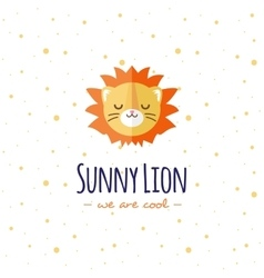 Cartoon lion head logo Flat logotype vector