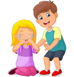 cartoon little boy comforting a crying girl vector image
