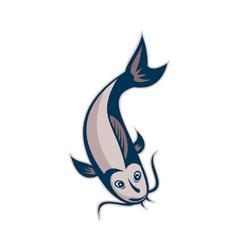 Catfish Fish Swimming Down vector image