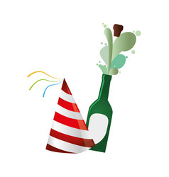 champagne bottle with cork expelled and party hat vector image