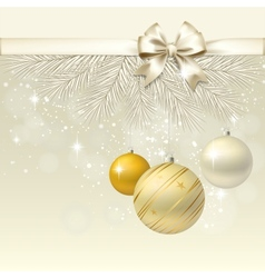 Christmas balls with bow background vector image