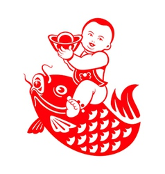 Chubby boy riding a carp vector