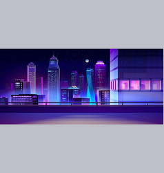 city night skyline cartoon background vector image