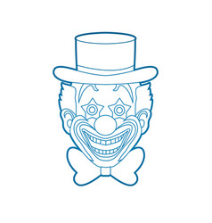 Clown head smile face outline stroke vector