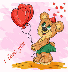 color of a bear cub girl holding balloons in her vector image