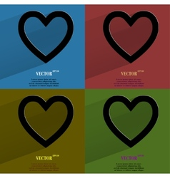 Color set Heart Flat modern web button with long vector image
