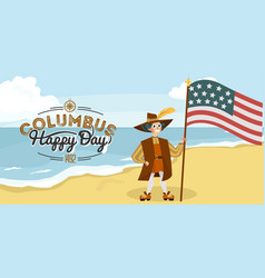 columbus day poster with columb and santa maria vector image
